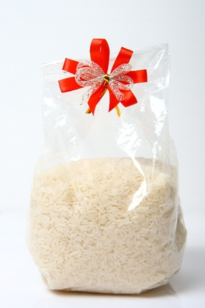 White long rice in package plastic bag
