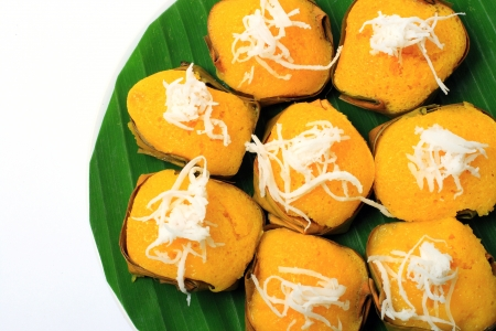 Dessert Thai sweet sugar palm cake with coconut  Stock Photo - 10795975