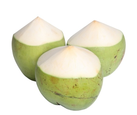 Green Coconut isolated on white background  Stock Photo