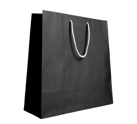 gift bag: Black recycle paper shopping bag on white background  Stock Photo
