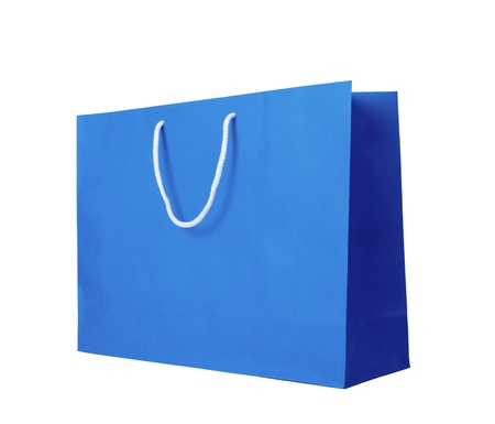 Blue recycle paper shopping bag on  white background photo