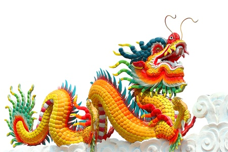 dragon chinois: Color� dragon chinois isol� sur fond blanc