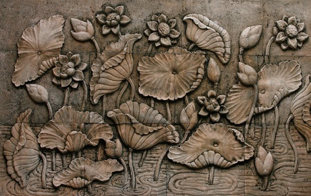 bas relief: Low relief cement Thai style handcraft of buddhism  Stock Photo