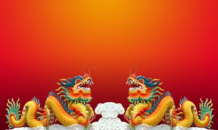 Chinese dragon statue with happy new year 2012 background Stock Photo - 11065778