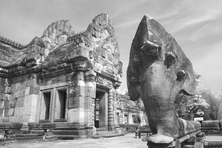 buriram: Snake statue in Phanom Roonk ancient castle, historical park at Buriram province Thailand. Stock Photo