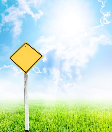 An image of yellow empty guidepost  photo