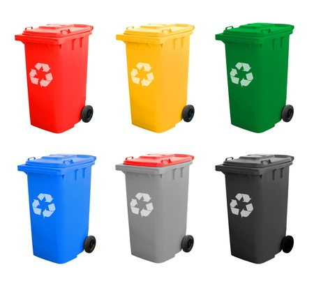 Colorful Recycle Bins Isolated With Recycle Sign For Green World Concept. photo