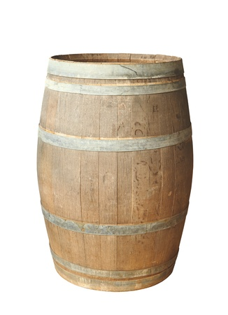 Old wood barrel isolated on white background. Stockfoto
