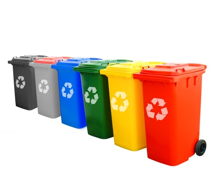 Colorful Recycle Bins Isolated With Recycle Sign For Green World Concept.