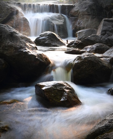 Close up  motion of waterfall in western Thailand,at Ratchaburi province Thailand. photo