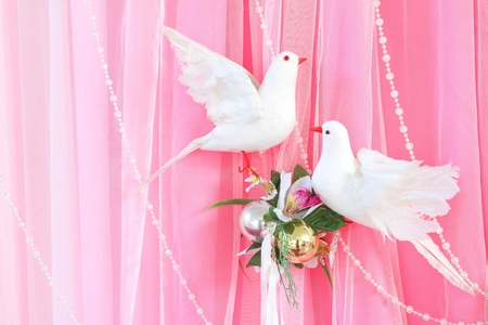 Exotic flowers arrangement over pink and white fabric, flowers background ready for wedding ceremony Stock Photo - 12806458