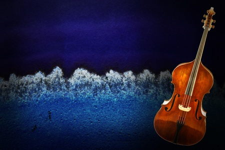 Old violin on vintage grunge background   photo