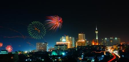 Night pattaya city  of Thailand at hight view photo