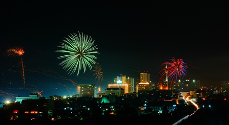 hight: Night pattaya city  of Thailand at hight view