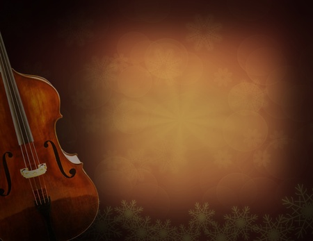 Old violin on vintage background photo