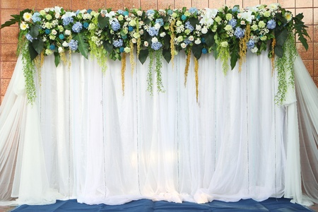 Beautiful Backdrop Flowers Over White Fabric Ready For Wedding ...