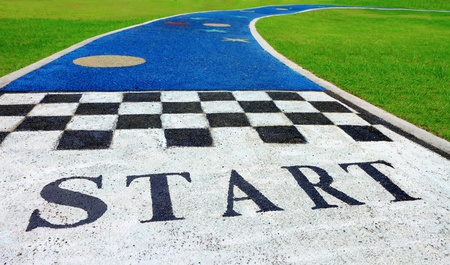 Jogging track in the park with start sign  photo