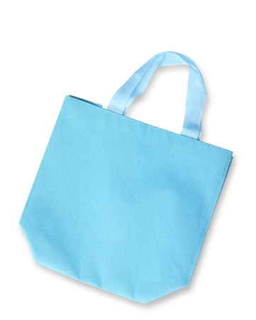 reusable: Blue color fabric bag or reusable shopping bag isolated, clipping path