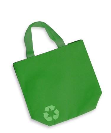 Green color fabric bag with recycle sign isolated, clipping path