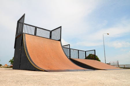 on ramp: nice skate and other sports park on puplic park  Stock Photo