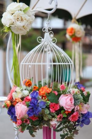 結婚式の準備の花の美しい花束