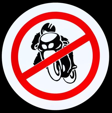 No motorcycle sign, no bikes allowed prohibition zone warning signage photo