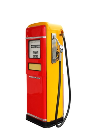 Red and yellow vintage gasoline fuel pump photo