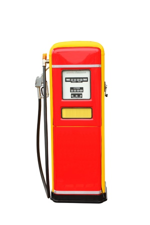 petrol pump: Red and yellow vintage gasoline fuel pump  Stock Photo