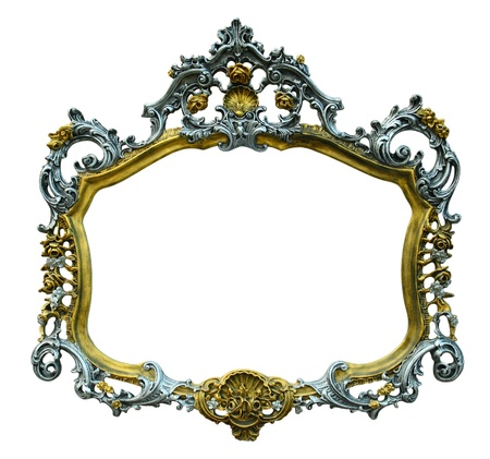 baroque furniture: Vintage picture frame over white background Stock Photo