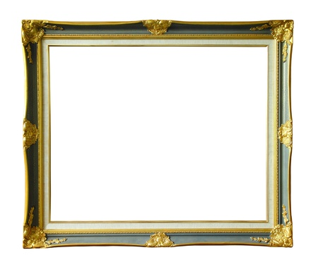 louise: Gold louise photo frame over white background  Stock Photo