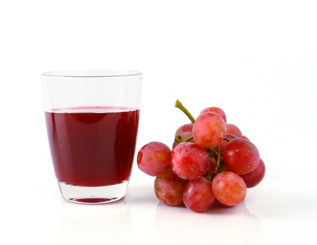 Grape juice and grape  isolated on white background  photo