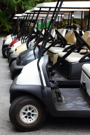 Golf carts on a parking lot  Stock Photo