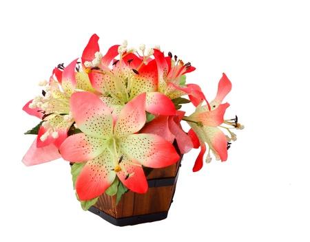 arreglo floral: Flores decorativas aisladas sobre fondo blanco Foto de archivo