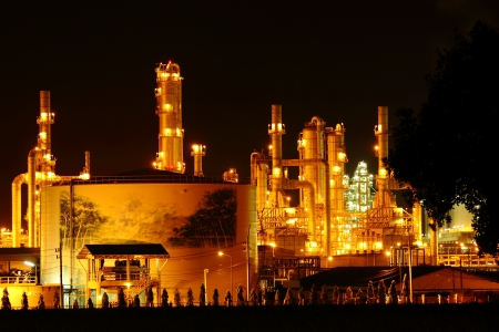 petrochemical industry night view, at Thailand