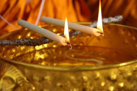 ordination: holy water, the monks and religious rituals in thai ceremony Stock Photo