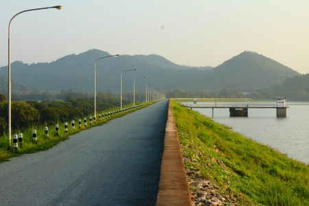 Earthen dam in the morning  , at Thailand