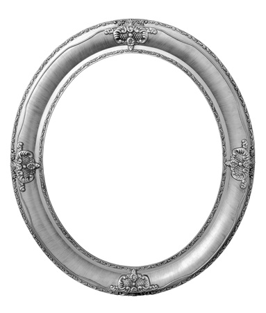 Oval photo bronze wooden frame isolated with clipping path Фото со стока