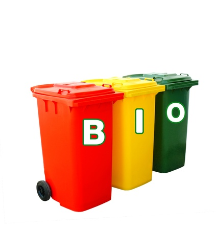 Bio wording on colorful recycle bins, clipping path Stock Photo - 18438072