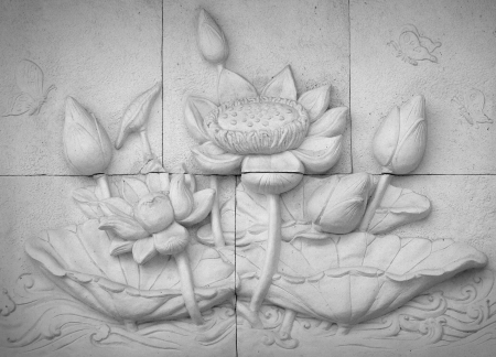 low relief: Low relief cement Thai style handcraft of buddhism  Stock Photo