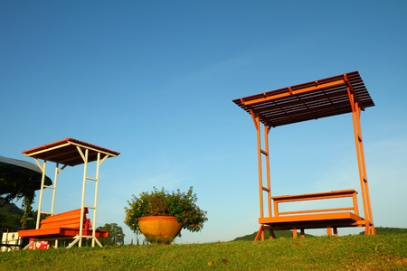 Benches in the park with blue sky  photo