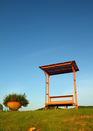 Bench in the park with blue sky  photo
