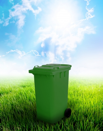 Green Recycle Bin With Landscape Background
