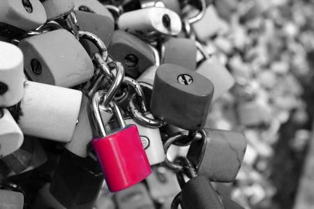 Many padlocks on the bridge, a symbol of eternal love  photo