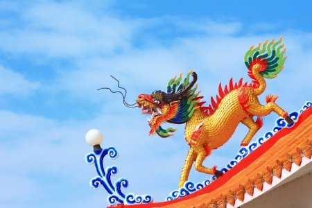 Kylin or Kirin on roof in Chinese temple  photo