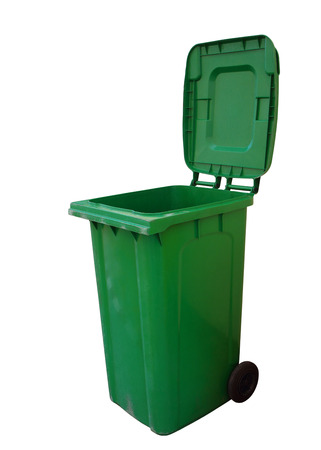 Green plastic trash recycling container, clipping path