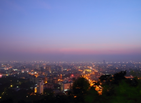 chonburi: View point in Pattaya night city at sunrise, at Thailand