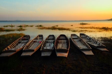 Asian wooden fishing boat on the lake, at Chonburi Thailand  photo