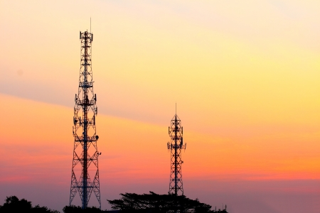 Telecommunication tower at sunset