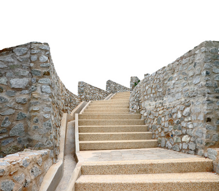 Old stone staircase isolated on a white background, clipping path photo