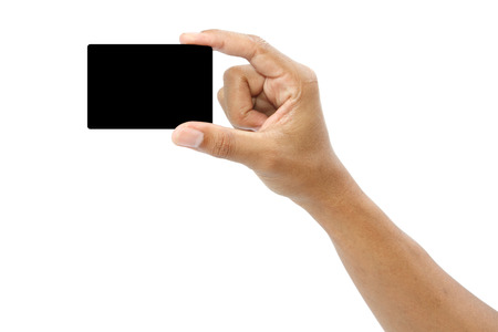 Card in format of credit card in male hand isolated, clipping path Stock Photo - 25773003